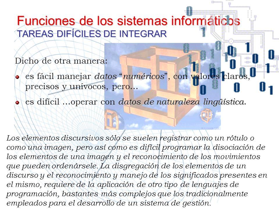Funciones de los sistemas informáticos TAREAS DIFÍCILES DE INTEGRAR