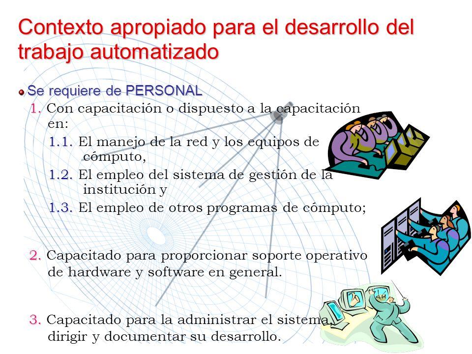 Contexto apropiado para el desarrollo del trabajo automatizado