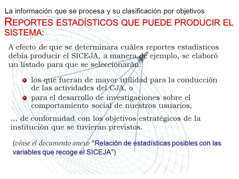 La información que se procesa y su clasificación por objetivos