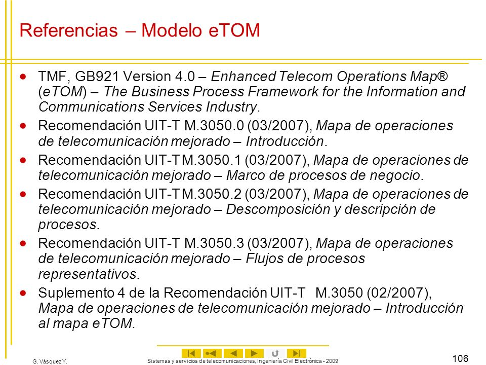 Referencias – Modelo eTOM