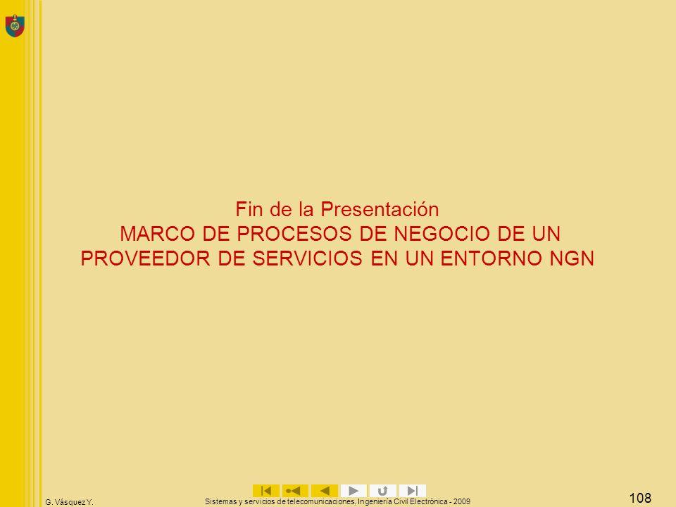 Fin de la Presentación MARCO DE PROCESOS DE NEGOCIO DE UN PROVEEDOR DE SERVICIOS EN UN ENTORNO NGN