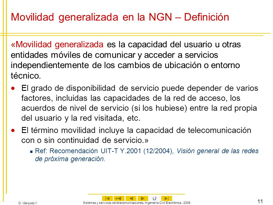 Movilidad generalizada en la NGN – Definición