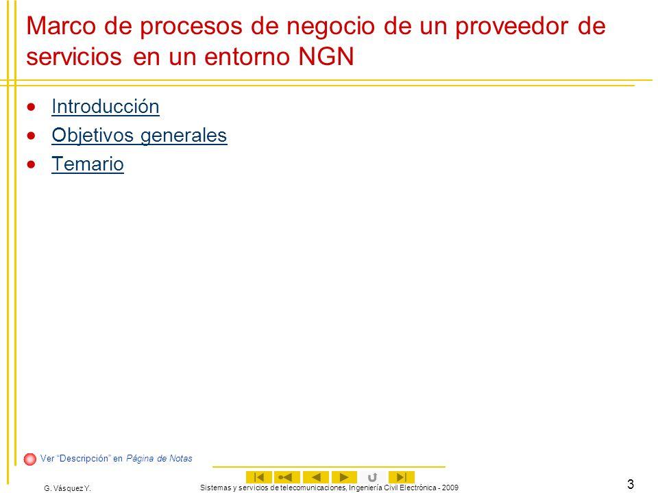 Marco de procesos de negocio de un proveedor de servicios en un entorno NGN