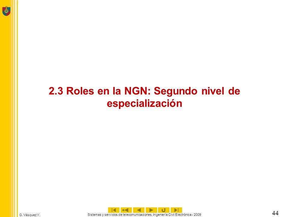 2.3 Roles en la NGN: Segundo nivel de especialización