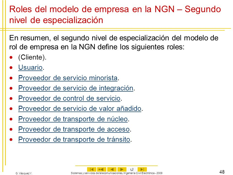 Roles del modelo de empresa en la NGN – Segundo nivel de especialización