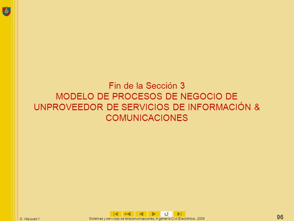 Fin de la Sección 3 MODELO DE PROCESOS DE NEGOCIO DE UNPROVEEDOR DE SERVICIOS DE INFORMACIÓN & COMUNICACIONES