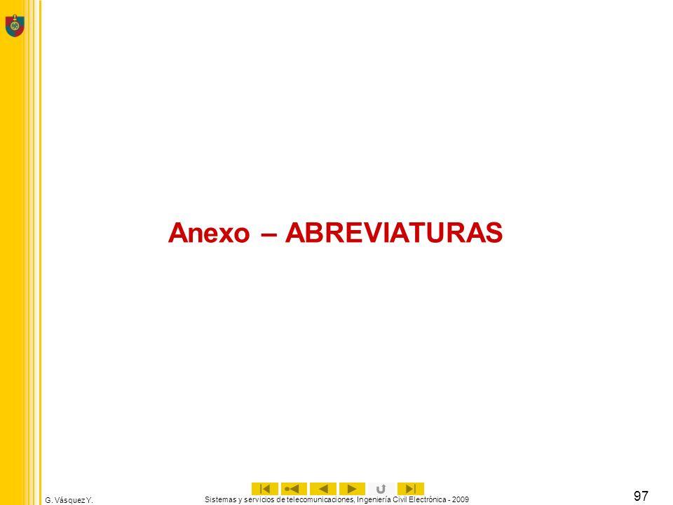 Anexo – ABREVIATURAS Sistemas y servicios de telecomunicaciones, Ingeniería Civil Electrónica - 2009.