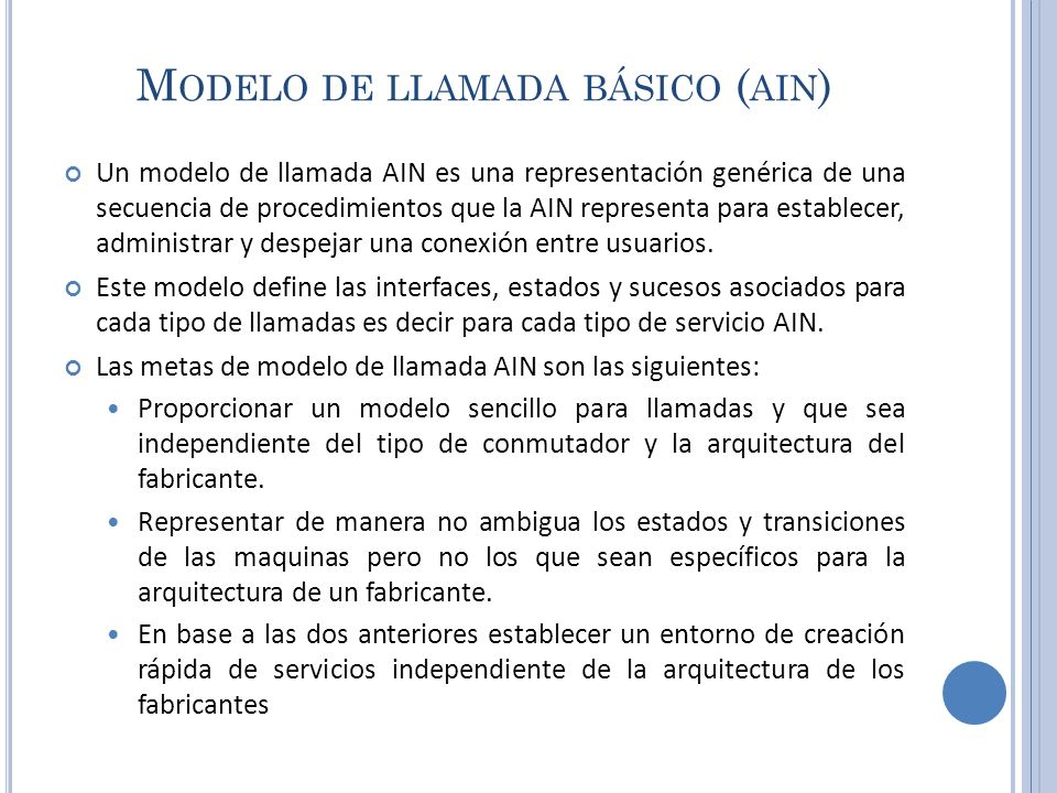 Modelo de llamada básico (ain)