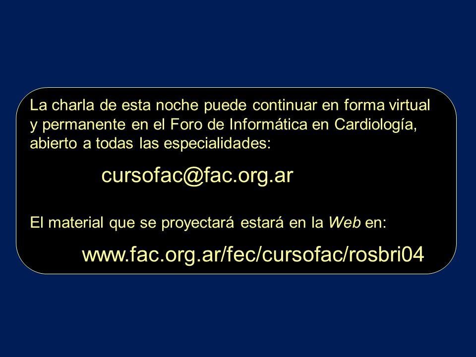 La charla de esta noche puede continuar en forma virtual y permanente en el Foro de Informática en Cardiología, abierto a todas las especialidades: