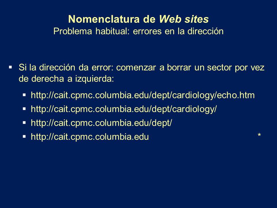 Nomenclatura de Web sites Problema habitual: errores en la dirección
