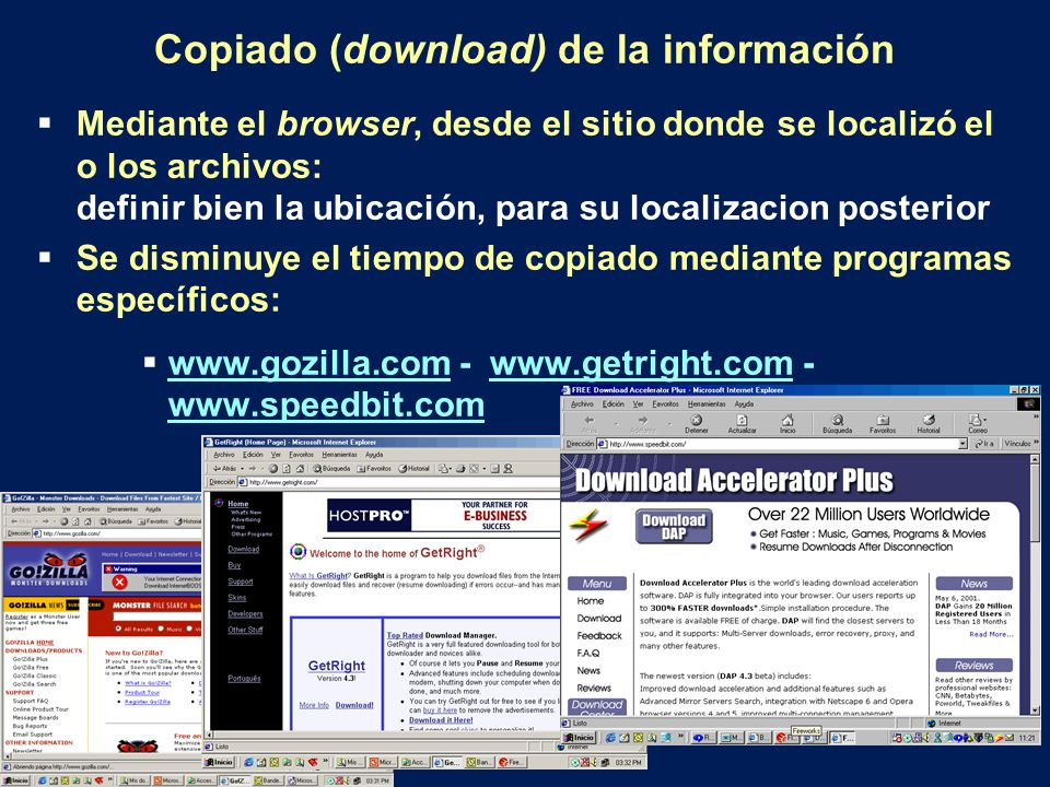 Copiado (download) de la información