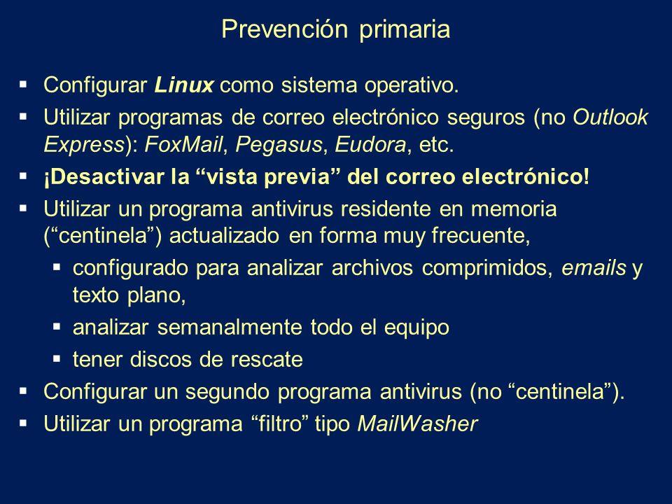 Prevención primaria Configurar Linux como sistema operativo.