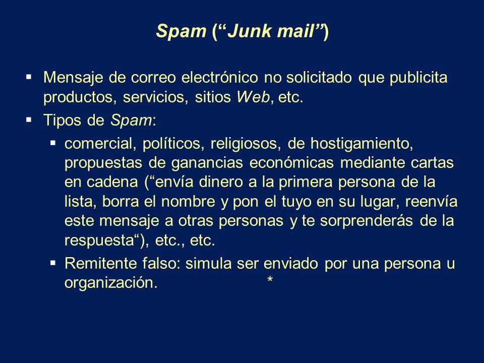 Spam ( Junk mail ) Mensaje de correo electrónico no solicitado que publicita productos, servicios, sitios Web, etc.