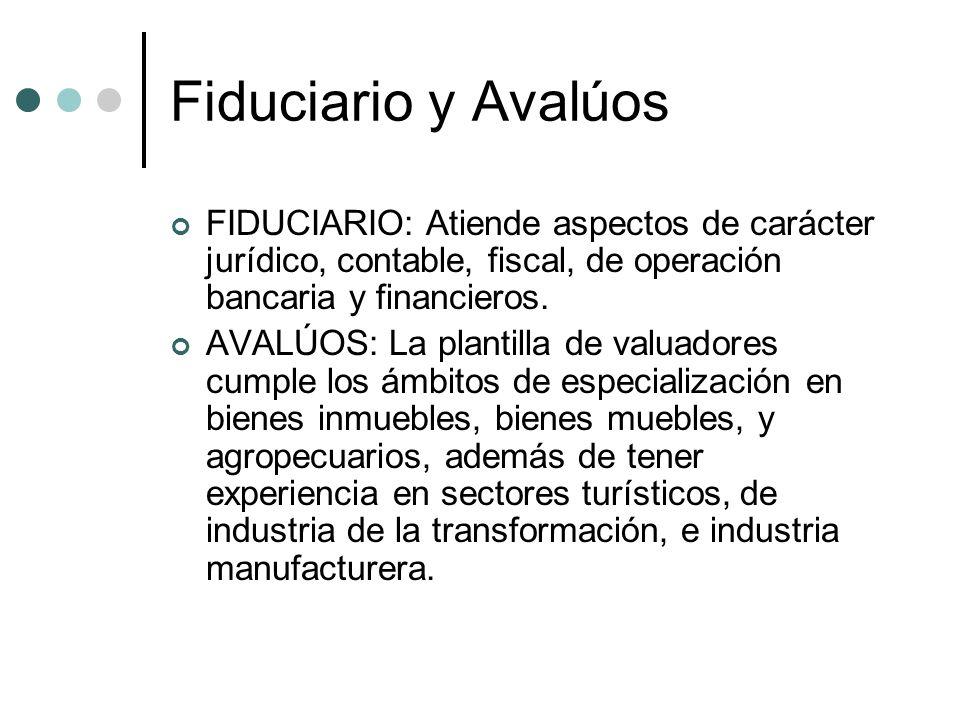 Fiduciario y Avalúos FIDUCIARIO: Atiende aspectos de carácter jurídico, contable, fiscal, de operación bancaria y financieros.