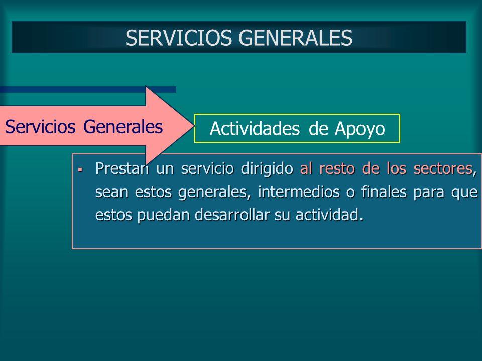 SERVICIOS GENERALES Servicios Generales Actividades de Apoyo