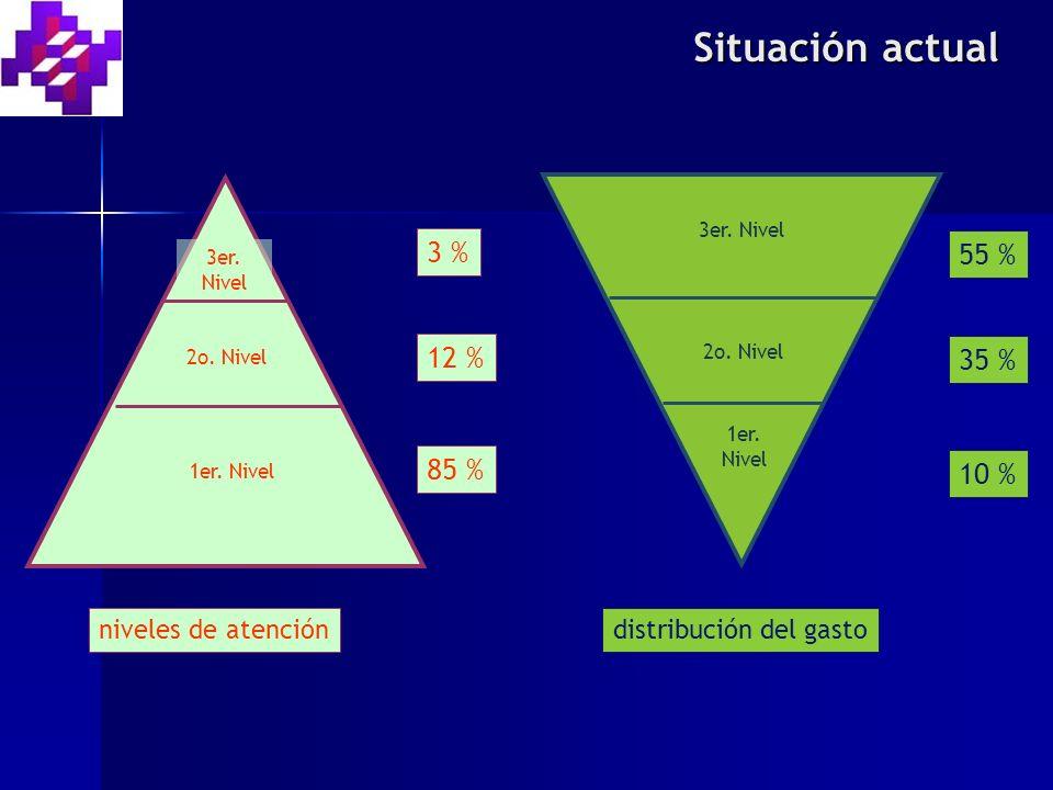 Situación actual 3 % 55 % 12 % 35 % 85 % 10 % niveles de atención