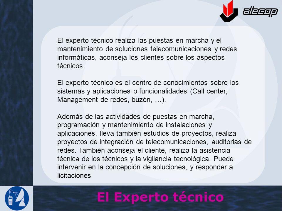 El experto técnico realiza las puestas en marcha y el mantenimiento de soluciones telecomunicaciones y redes informáticas, aconseja los clientes sobre los aspectos técnicos.