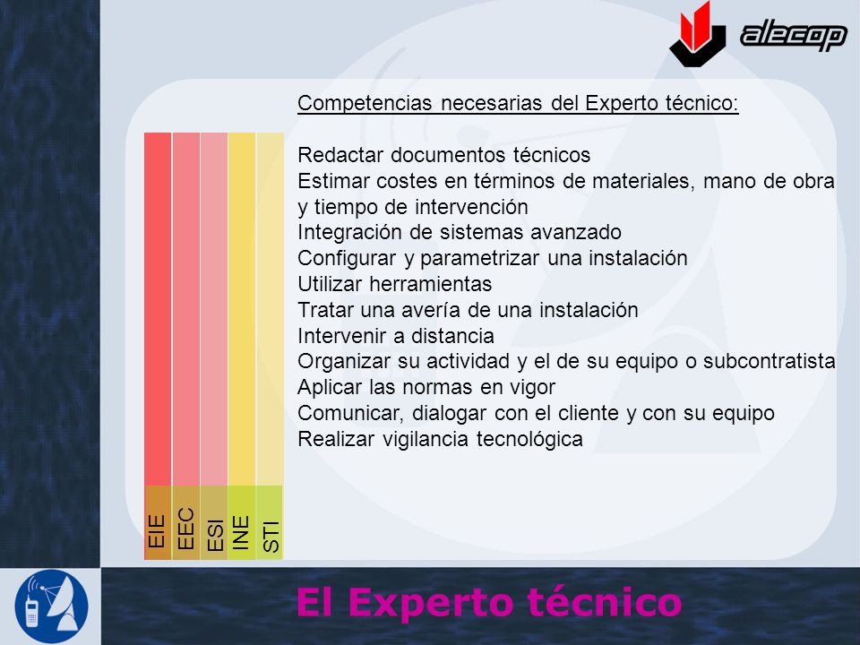 El Experto técnico Competencias necesarias del Experto técnico: