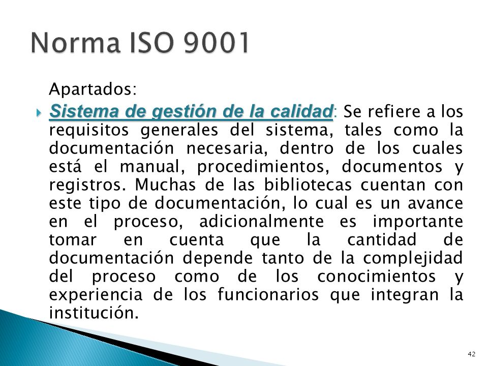 Norma ISO 9001 Apartados: