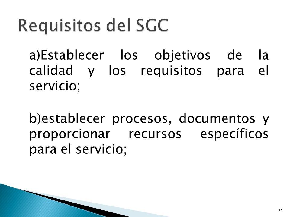 Requisitos del SGC