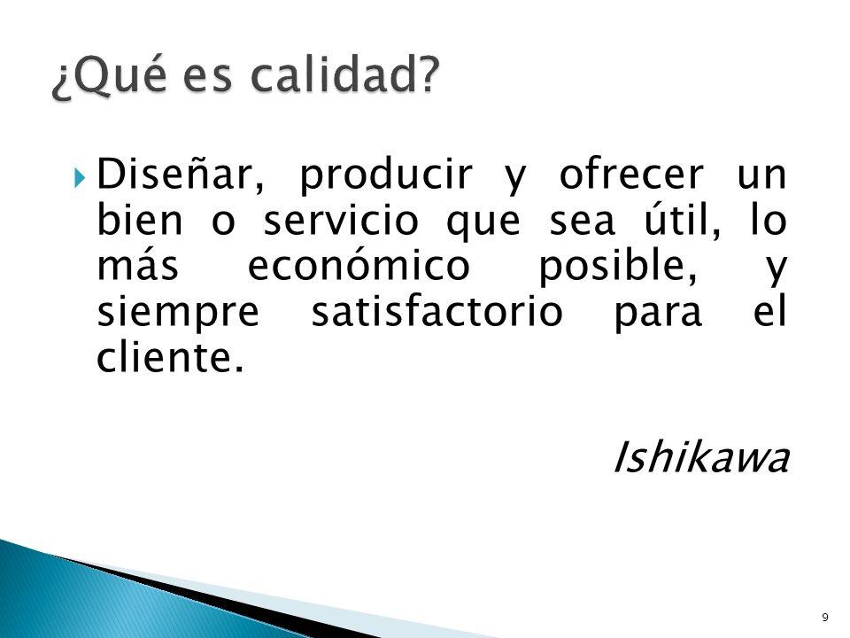¿Qué es calidad Diseñar, producir y ofrecer un bien o servicio que sea útil, lo más económico posible, y siempre satisfactorio para el cliente.