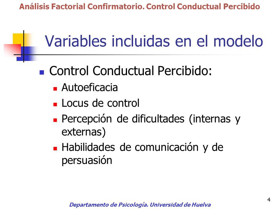 Variables incluidas en el modelo