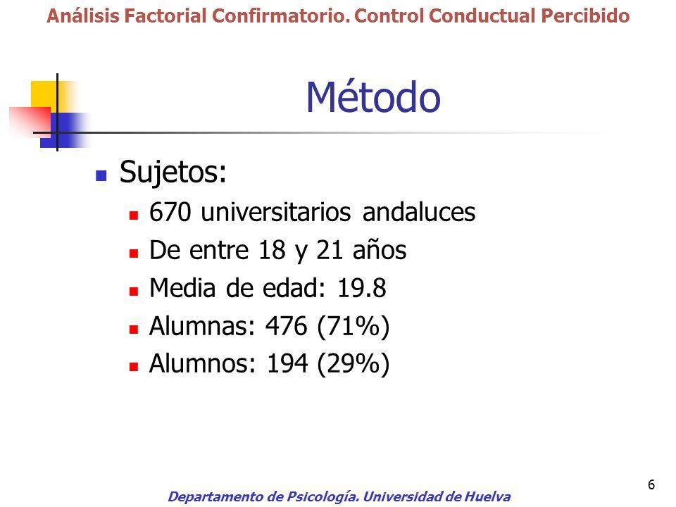 Método Sujetos: 670 universitarios andaluces De entre 18 y 21 años