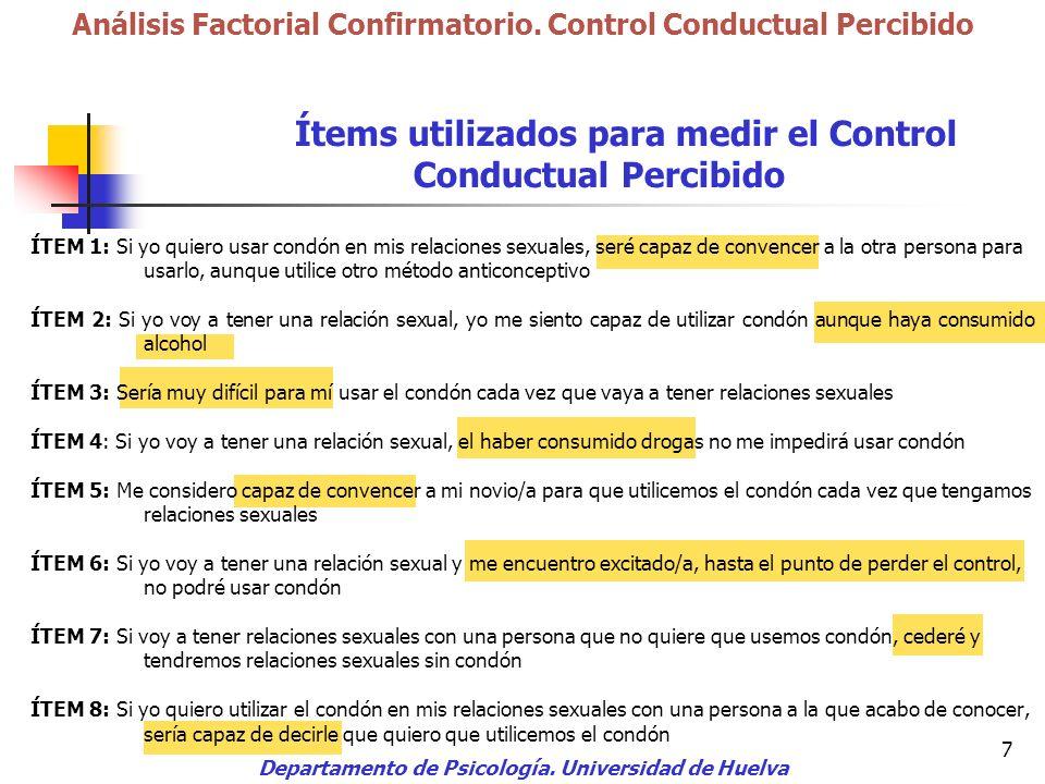 Ítems utilizados para medir el Control Conductual Percibido