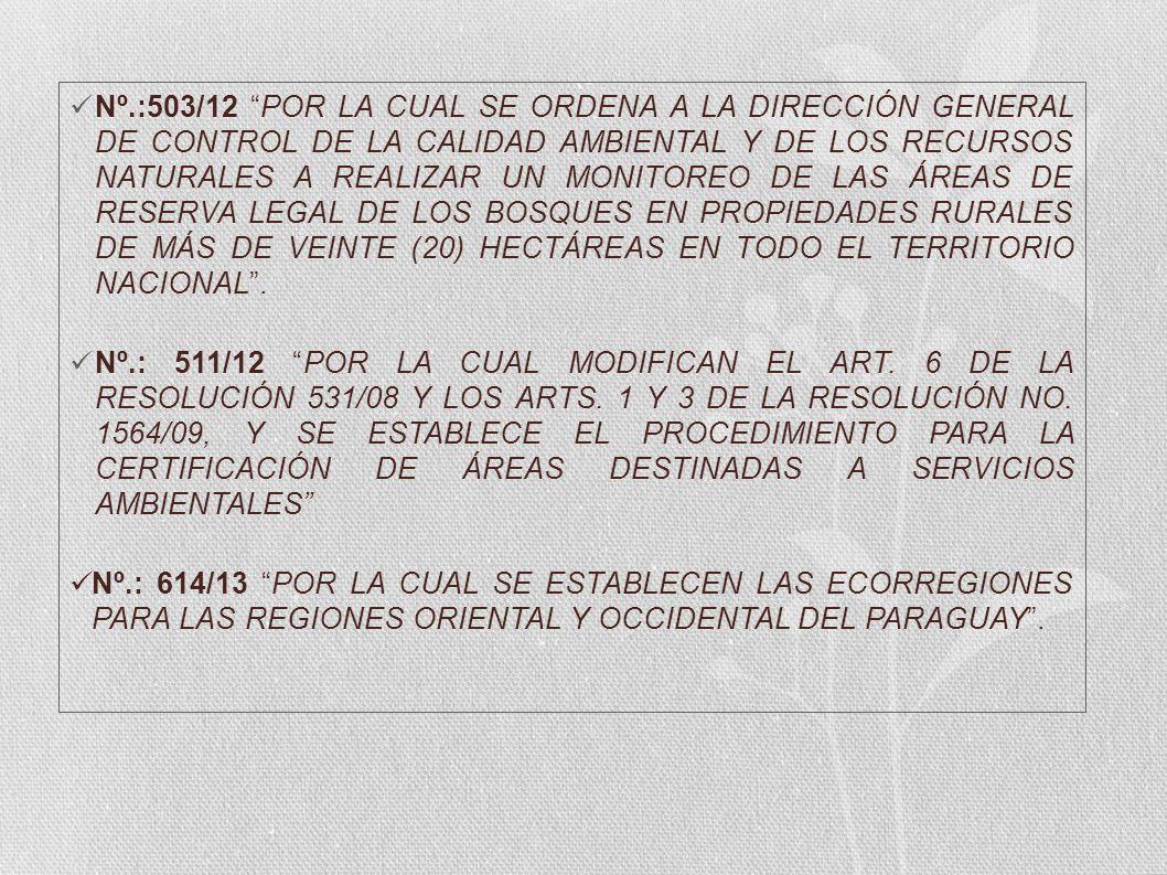 Nº.:503/12 POR LA CUAL SE ORDENA A LA DIRECCIÓN GENERAL DE CONTROL DE LA CALIDAD AMBIENTAL Y DE LOS RECURSOS NATURALES A REALIZAR UN MONITOREO DE LAS ÁREAS DE RESERVA LEGAL DE LOS BOSQUES EN PROPIEDADES RURALES DE MÁS DE VEINTE (20) HECTÁREAS EN TODO EL TERRITORIO NACIONAL .