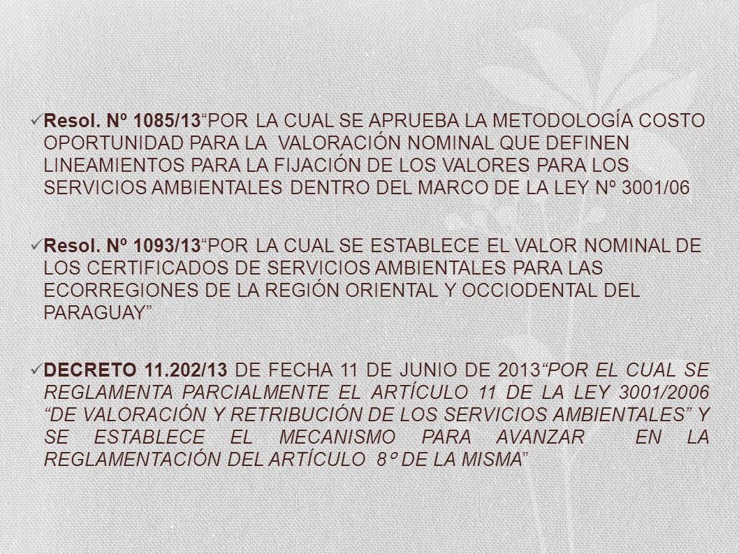 Resol. Nº 1085/13 POR LA CUAL SE APRUEBA LA METODOLOGÍA COSTO OPORTUNIDAD PARA LA VALORACIÓN NOMINAL QUE DEFINEN LINEAMIENTOS PARA LA FIJACIÓN DE LOS VALORES PARA LOS SERVICIOS AMBIENTALES DENTRO DEL MARCO DE LA LEY Nº 3001/06