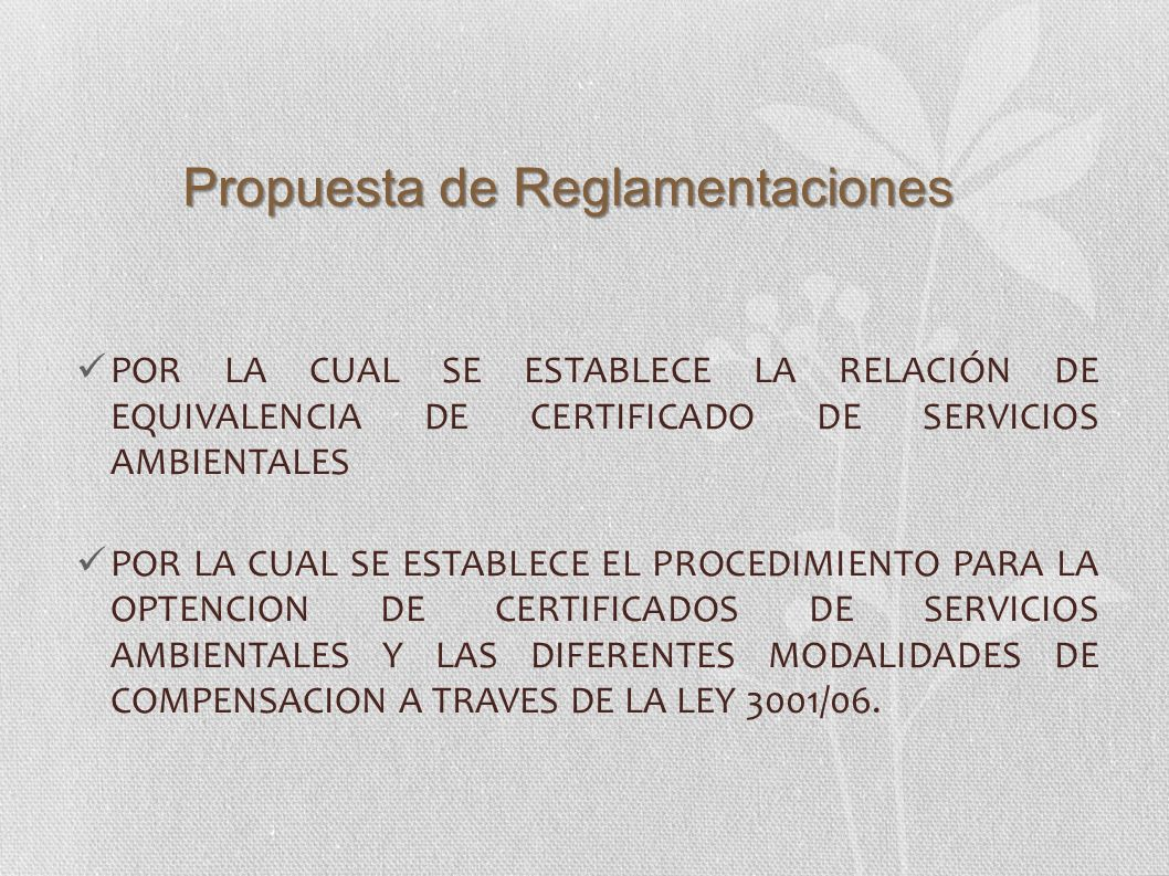 Propuesta de Reglamentaciones