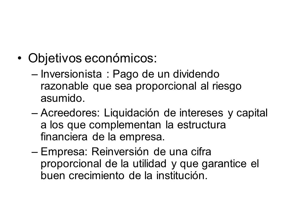 Objetivos económicos: