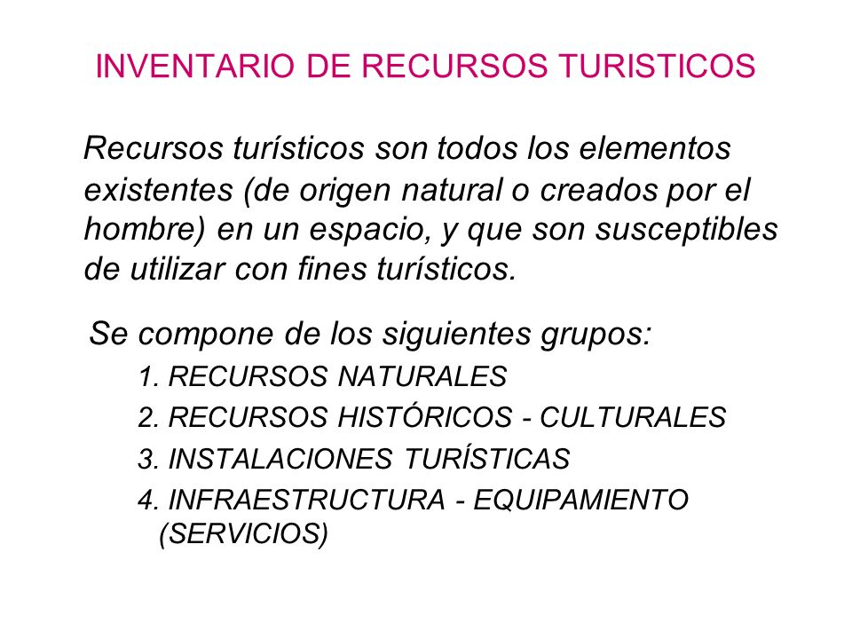 INVENTARIO DE RECURSOS TURISTICOS
