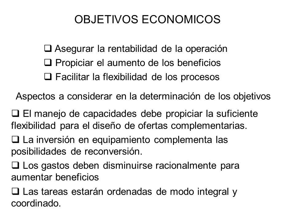 OBJETIVOS ECONOMICOS Asegurar la rentabilidad de la operación