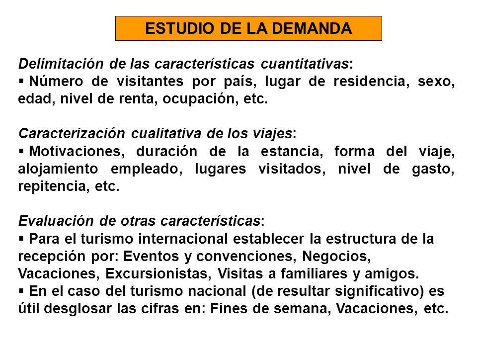 ESTUDIO DE LA DEMANDA Delimitación de las características cuantitativas: