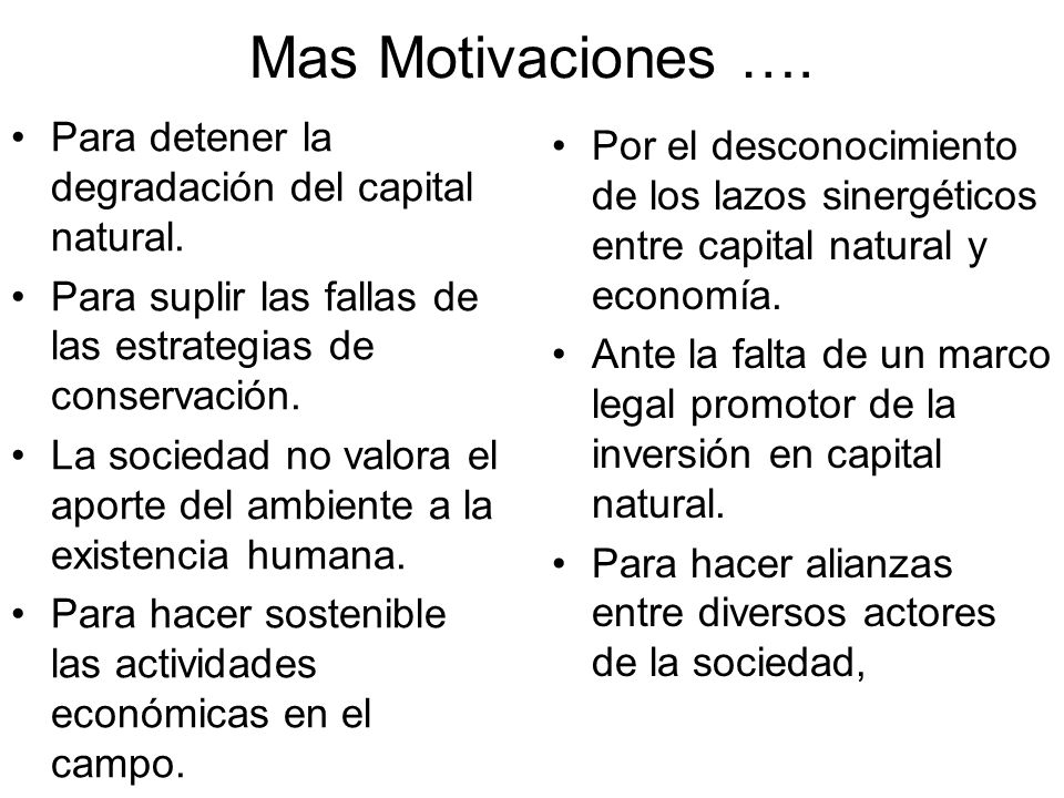 Mas Motivaciones …. Para detener la degradación del capital natural.