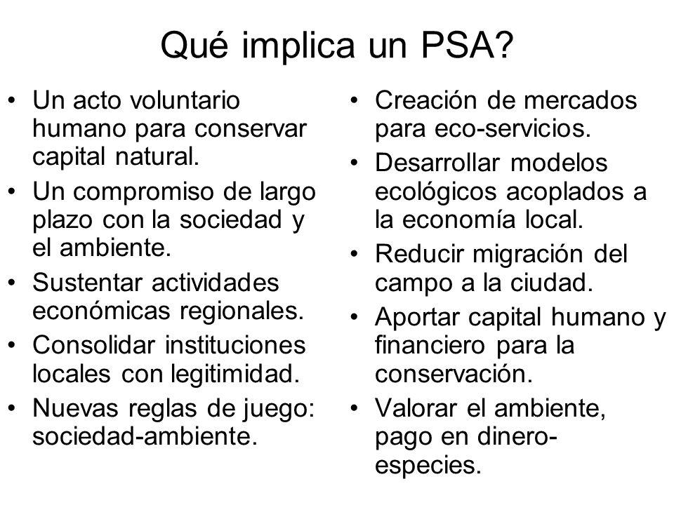 Qué implica un PSA Un acto voluntario humano para conservar capital natural. Un compromiso de largo plazo con la sociedad y el ambiente.
