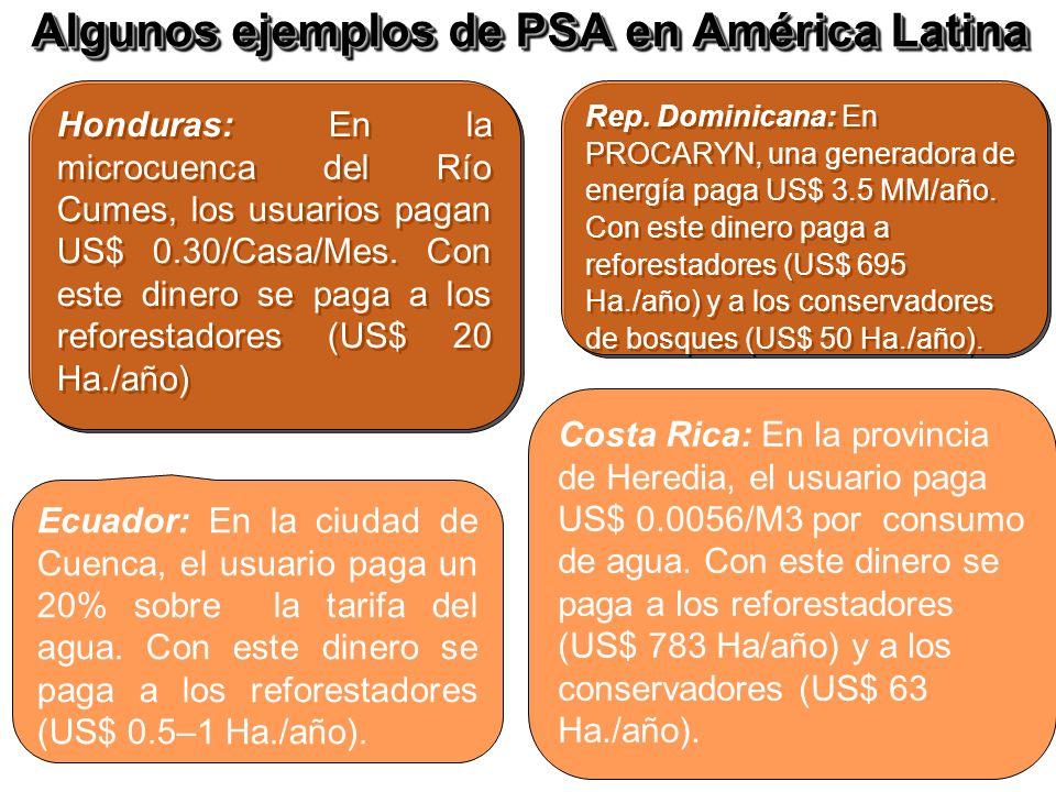 Algunos ejemplos de PSA en América Latina
