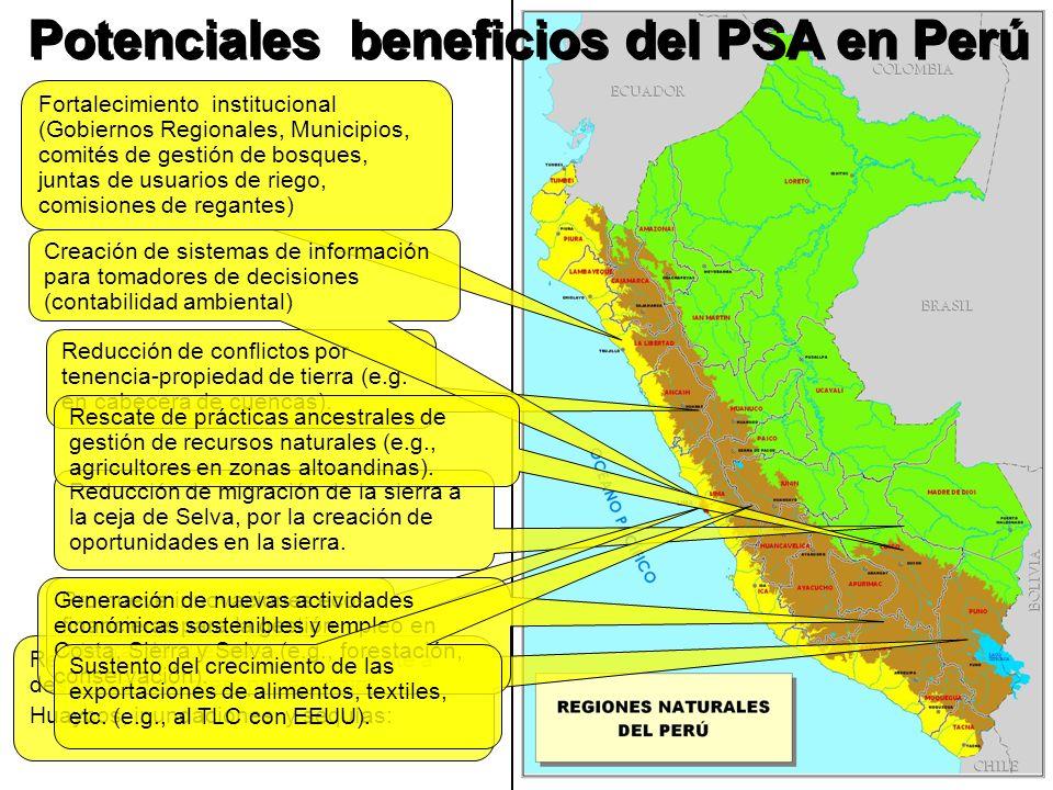 Potenciales beneficios del PSA en Perú