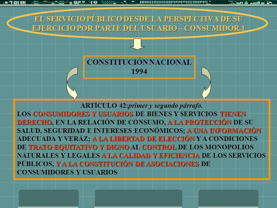 CONSTITUCIÓN NACIONAL ARTÍCULO 42:primer y segundo párrafo.