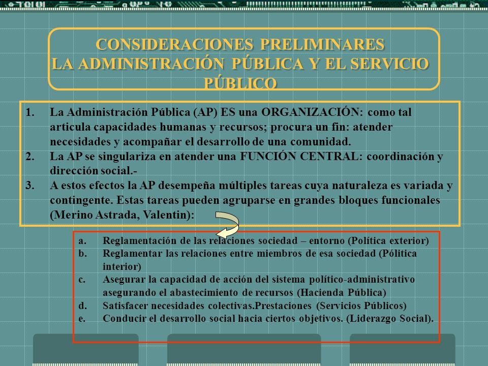 CONSIDERACIONES PRELIMINARES LA ADMINISTRACIÓN PÚBLICA Y EL SERVICIO PÚBLICO