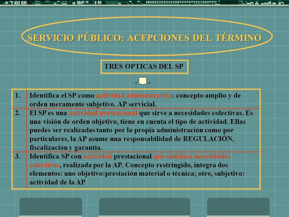 SERVICIO PÚBLICO: ACEPCIONES DEL TÉRMINO