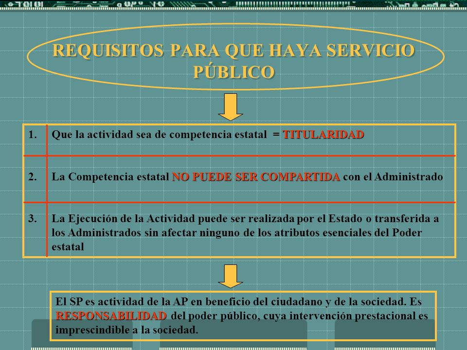 REQUISITOS PARA QUE HAYA SERVICIO PÚBLICO