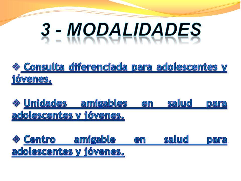 3 - MODALIDADES Consulta diferenciada para adolescentes y jóvenes.