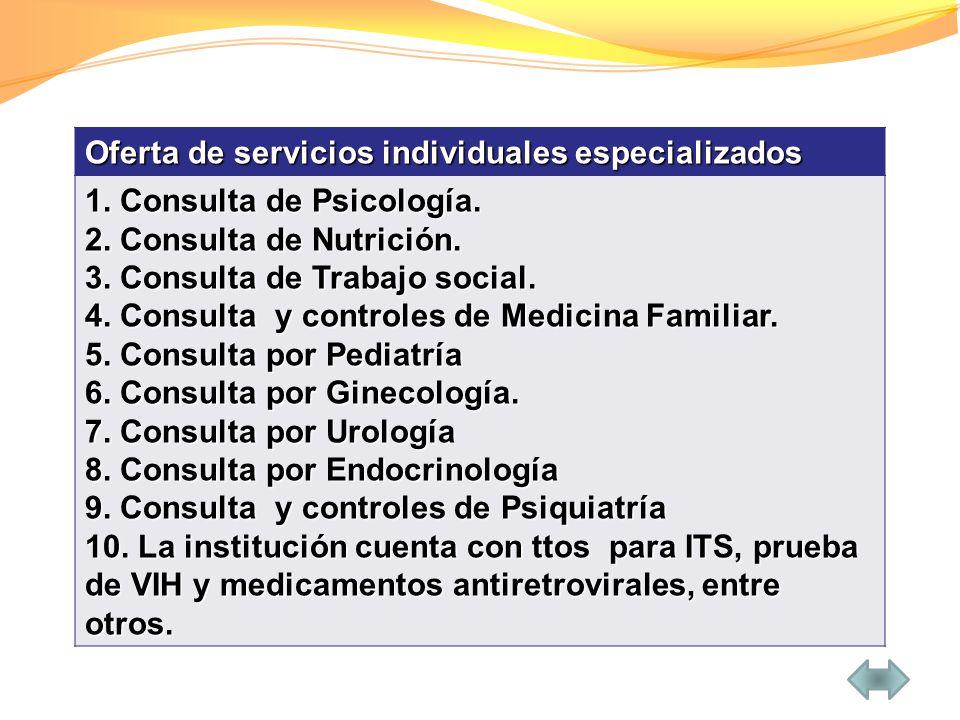 Oferta de servicios individuales especializados
