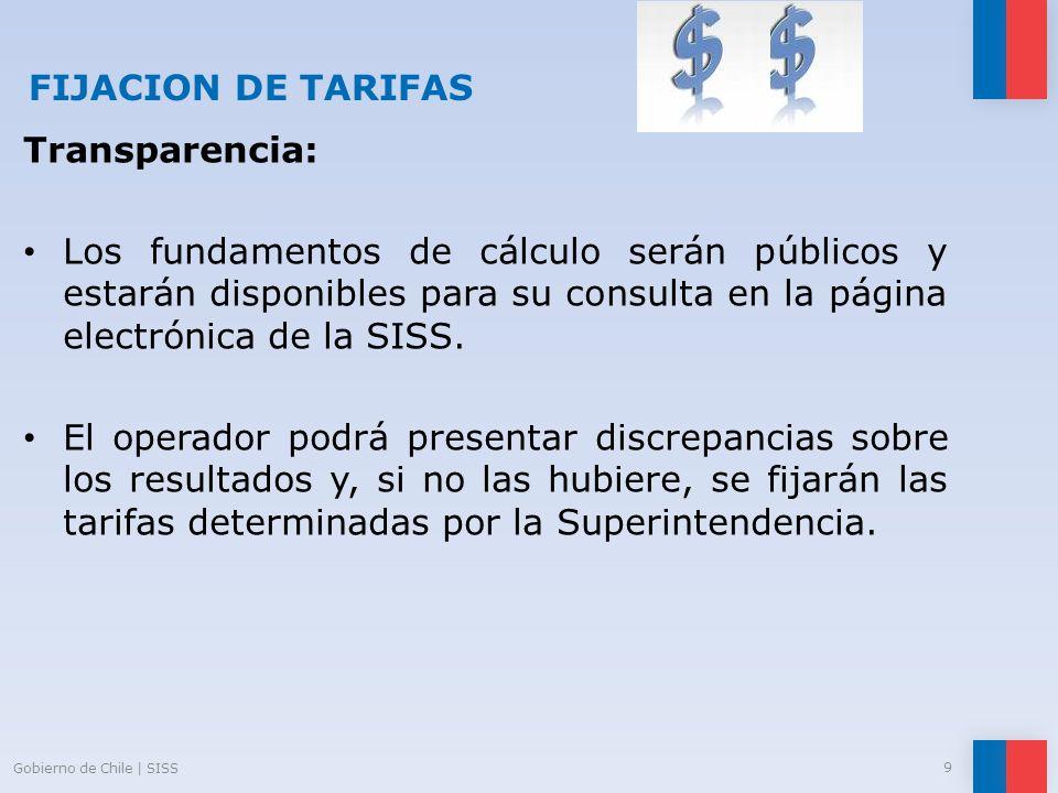 FIJACION DE TARIFAS Transparencia: