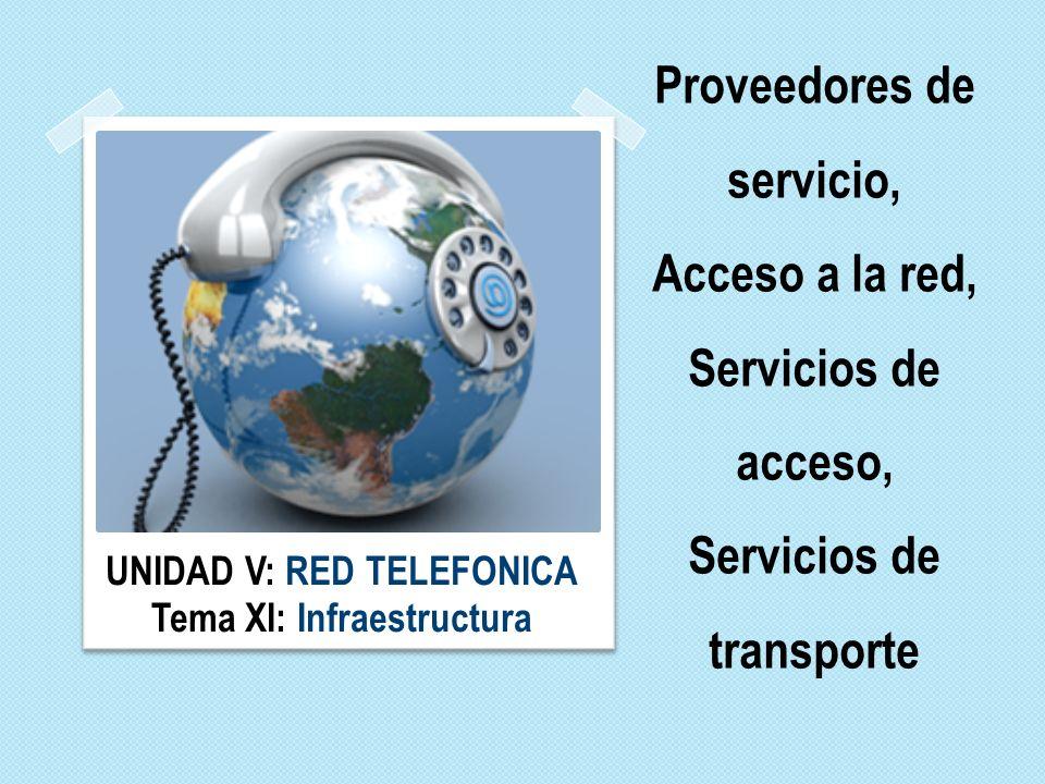 UNIDAD V: RED TELEFONICA Tema XI: Infraestructura