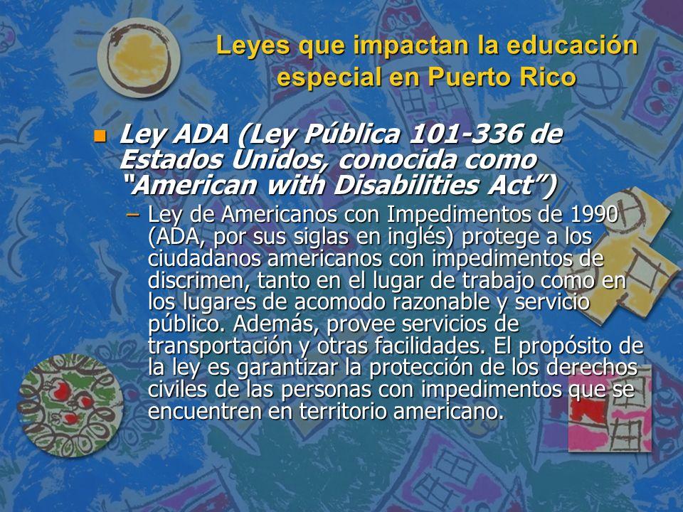Leyes que impactan la educación especial en Puerto Rico