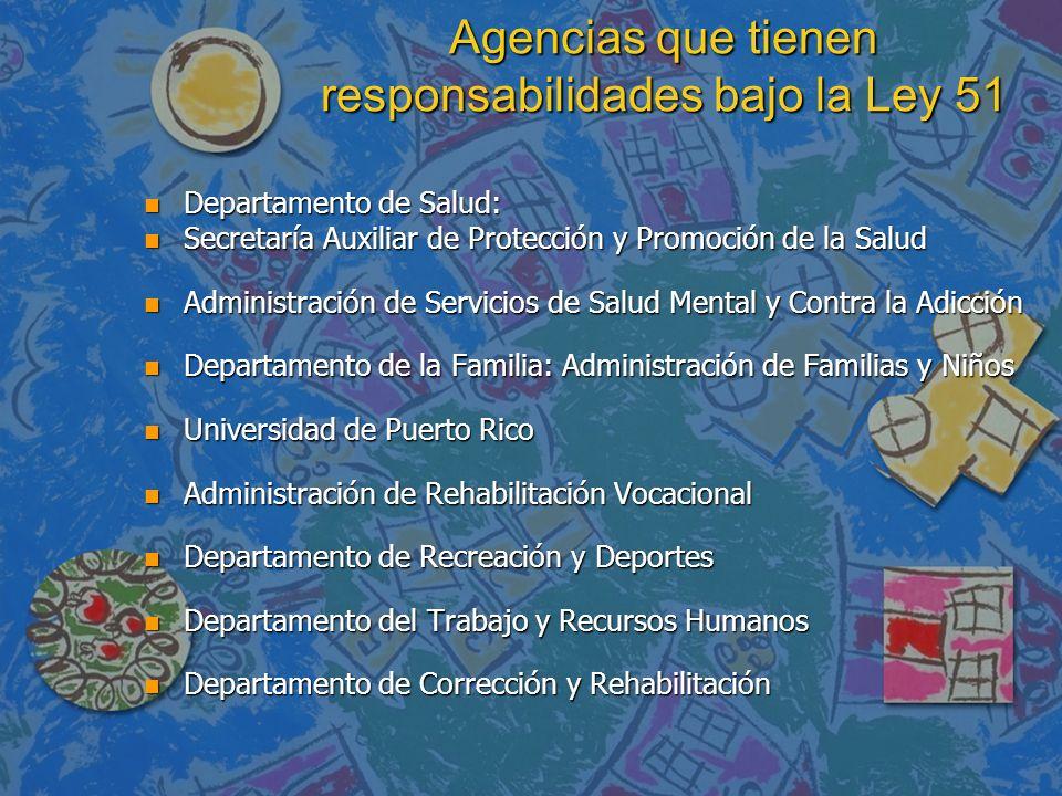 Agencias que tienen responsabilidades bajo la Ley 51