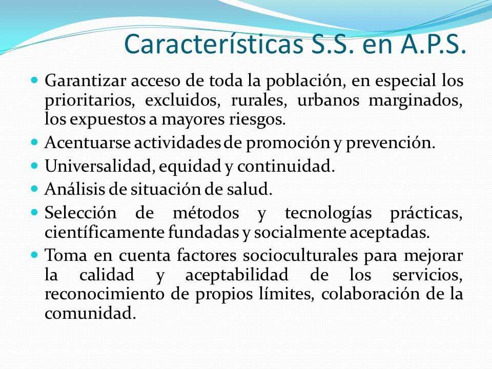 Características S.S. en A.P.S.